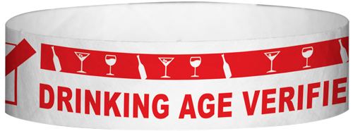 "A Tyvek® 3/4"" X 10"" DAV Drinking Age Verfication Red wristband"