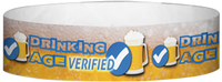 "A Tyvek® 3/4"" X 10"" Drinking Age Verified Beer Glass Purple wristband"