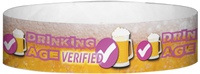 "A Tyvek® 3/4"" X 10"" Drinking Age Verified Beer Glass Black wristband"