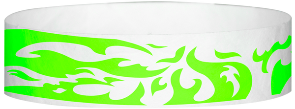 "A Tyvek® 3/4"" X 10"" Flames Neon Lime wristband"