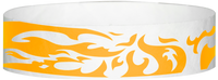 "A Tyvek® 3/4"" X 10"" Flames Neon Orange wristband"