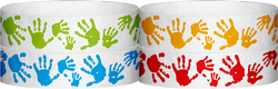 "Tyvek® 3/4"" x 10"" Hand Prints pattern wristbands"