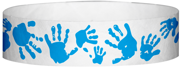 "A Tyvek® 3/4"" X 10"" Hand Prints Light Blue wristband"