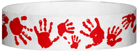 "A Tyvek® 3/4"" X 10"" Hand Prints Red wristband"