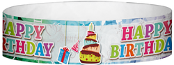 "Tyvek® 3/4"" x 10"" Happy Birthday Cake pattern wristbands"