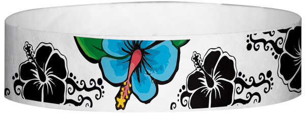 "A Tyvek® 3/4"" X 10"" Hawaiian Flowers Wristband"