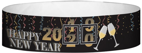 "A Tyvek® 3/4"" X 10"" New Years Date Wristband"