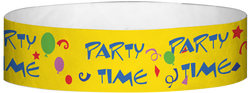 "Tyvek® 3/4"" x 10"" Party Time Yellow pattern wristbands"