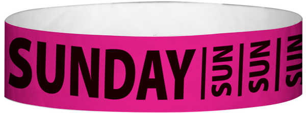 "A Tyvek® 3/4"" X 10"" Sunday Neon Pink wristband"