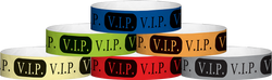 "Tyvek® 3/4"" x 10"" VIP pattern wristbands"