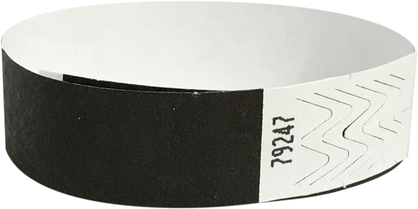 "A 3/4"" Tyvek® litter free solid Black wristband"