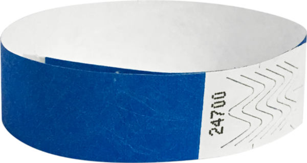 "A 3/4"" Tyvek® litter free solid Blue wristband"