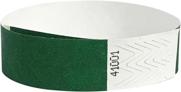 "A Tyvek® 3/4"" solid Green wristband"