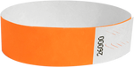 "A 3/4"" Tyvek® litter free solid Neon Orange wristband"