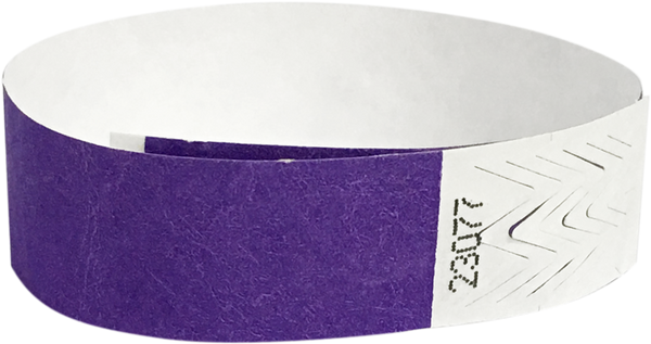 "A 3/4"" Tyvek® litter free solid Purple wristband"