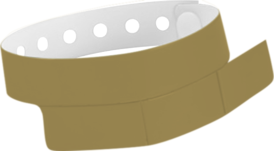"A Vinyl 1 1/4"" x 9 1/4"" Slim 3-Stub Snapped Solid Gold wristband"