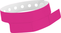 "A Vinyl 1 1/4"" x 9 1/4"" Slim 3-Stub Snapped Solid Neon Pink wristband"