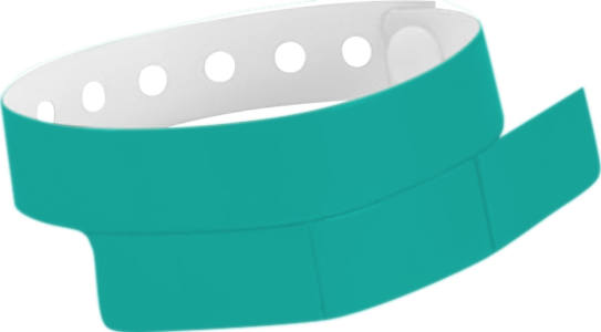 "A Vinyl 1 1/4"" x 9 1/4"" Slim 3-Stub Snapped Solid Teal wristband"