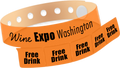 "Custom Vinyl 1 1/4"" x 9 1/4"" 5-Stub Edge Glow One Color Imprint Snapped Wristband"