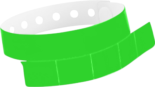 "A Vinyl 1 1/4"" x 9 1/4"" Slim 5-Stub Snapped Solid Neon Green wristband"