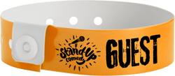 "Custom Vinyl 3/4"" x 10"" L-Shape One Color Imprint Snapped wristbands"