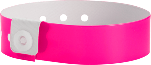 "A Vinyl 3/4"" x 10"" L-Shape Snapped Solid Neon Pink wristband"