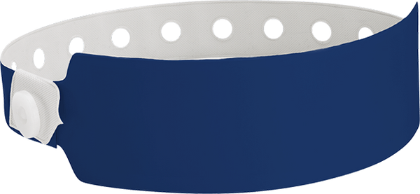 "A Vinyl 1"" x 10"" Wide Face Snapped Solid Navy Blue wristband"