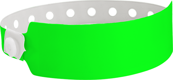 "A Vinyl 1"" x 10"" Wide Face Snapped Solid Neon Green wristband"