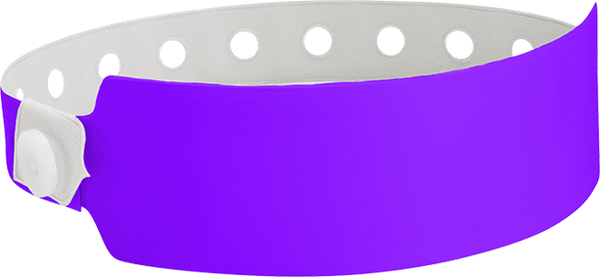 "A Vinyl 1"" x 10"" Wide Face Snapped Solid Purple wristband"