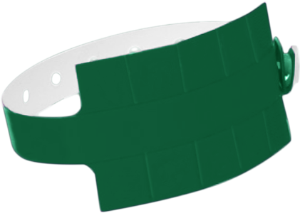 "A Vinyl 1 1/4"" x 9 1/4"" Slim 10-Stub Snapped Solid Forest Green wristband"