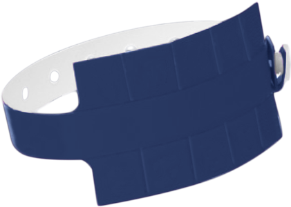 "A Vinyl 1 1/4"" x 9 1/4"" Slim 10-Stub Snapped Solid Navy Blue wristband"