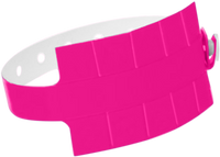 "A Vinyl 1 1/4"" x 9 1/4"" Slim 10-Stub Snapped Solid Neon Pink wristband"