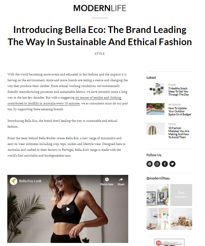 Bella Eco Intimates I The Modern Life