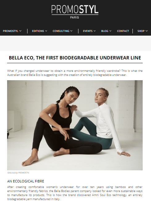 Bella Eco Sustainable Underwear I Promostyl Paris