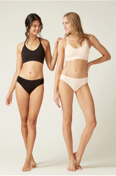 Bikini Undie I Women's Sustainable Briefs and bra combo I Bella Eco Australia I Black and Blush I Small