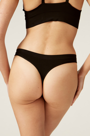Thong Back I The Newport I Comfortable and Sustainable Underwear I Bella Eco Australia I Black I Medium