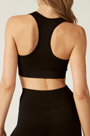 Sports Crop Back I The Noosa I Women's Comfortable and Eco-Friendly Bra I Bella Eco Australia I Black I Medium