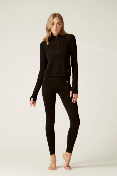 Long Sleeve Sports Top and Lifestyle Leggings I Women's High Performance and Sustainable Activewear I Bella Eco Australia I Black I Medium