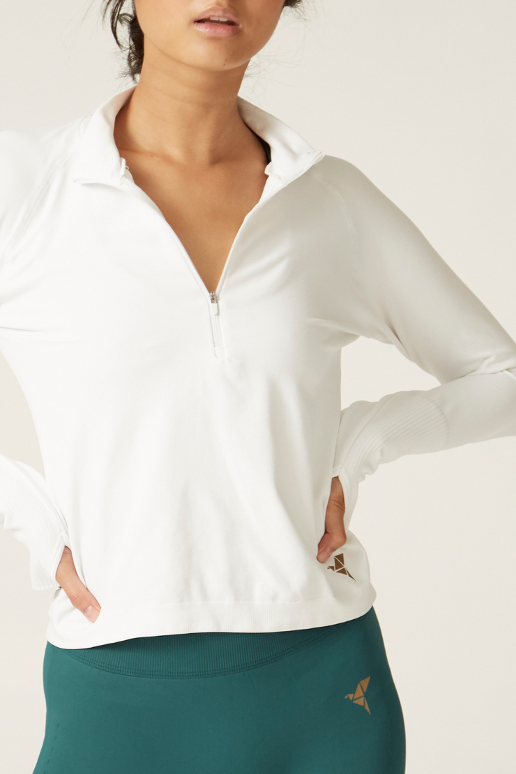 Long Sleeve Sports Top I Women's High Performance and Eco-friendly Activewear I Bella Eco Australia I White I Medium