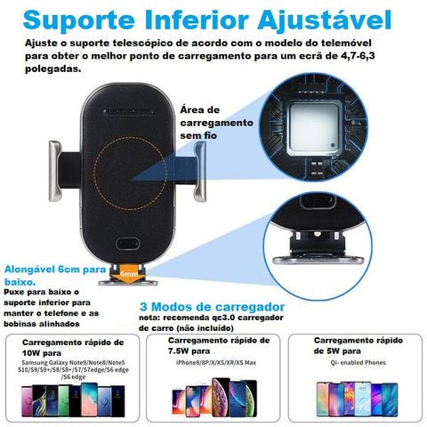 Carregador Veicular Wireless Iphone XS X 8 Samsung S9