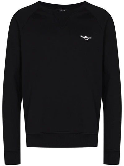 Balmain Sweatshirt Balmain Mini Logo Embroidered Black Sweatshirt