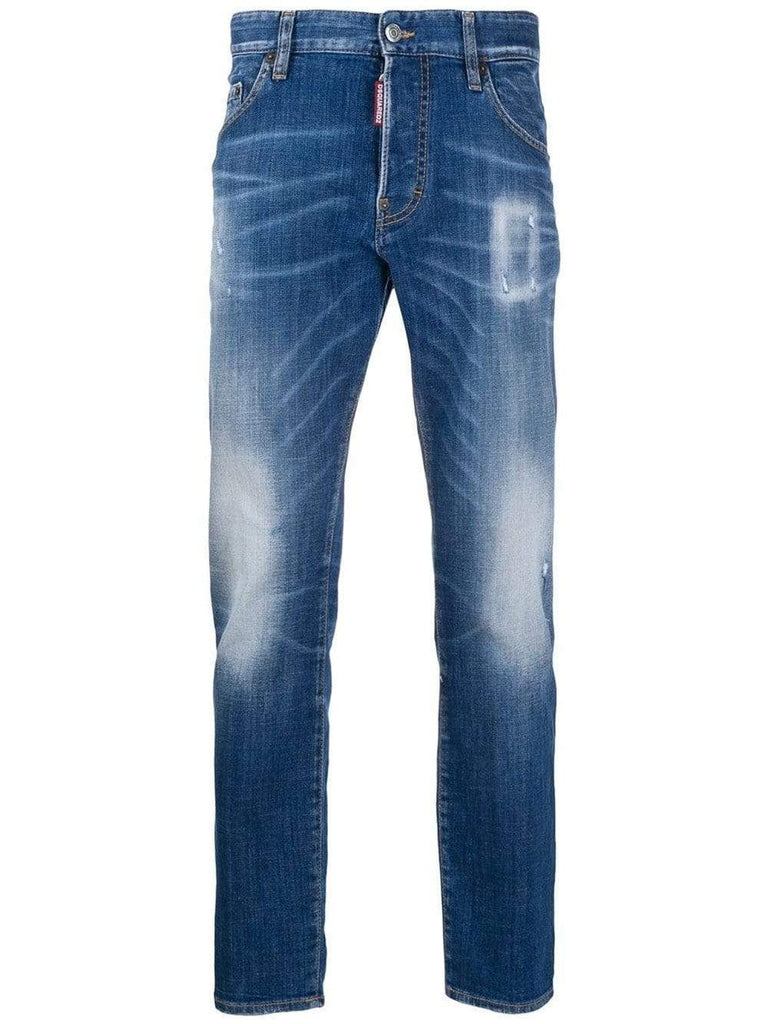 Dsquared2 Jeans Dsquared2 Distressed Slim-Fit Blue Jeans
