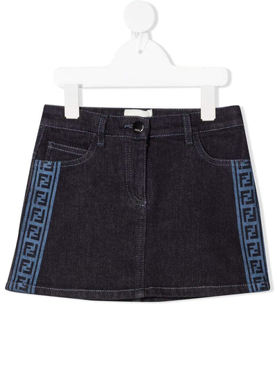 FENDI Skirt Fendi Logo Trim Denim Skirt