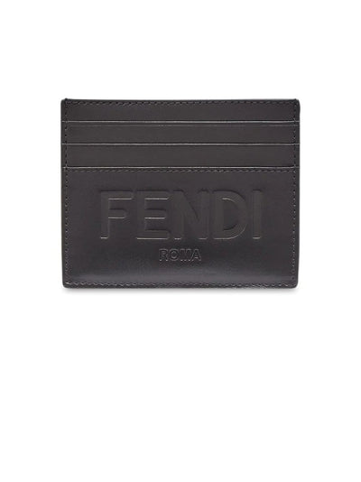 FENDI Wallets Fendi Debossed Logo Black Cardholder