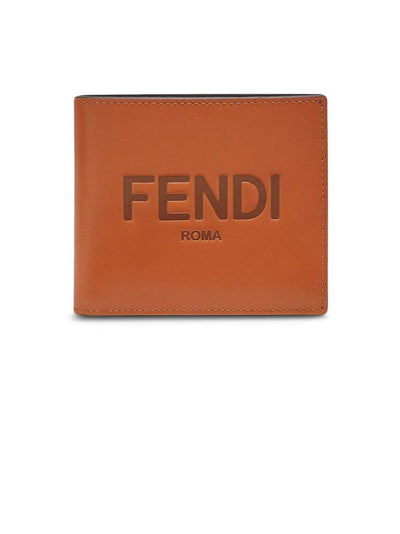 FENDI Wallets Fendi Logo-Embossed Brown Bi-Fold Wallet