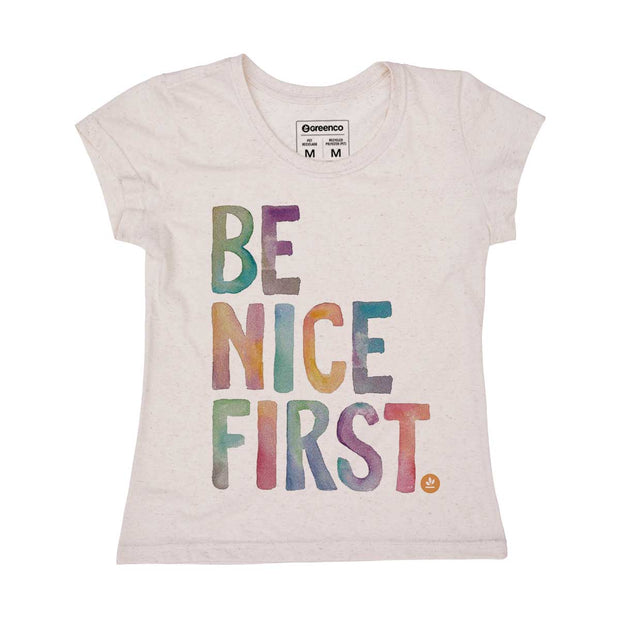 Camiseta Feminina PET + Linho - Be Nice First
