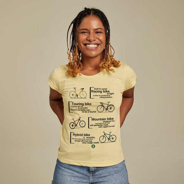 Camiseta Feminina PET + Linho - Bike Types