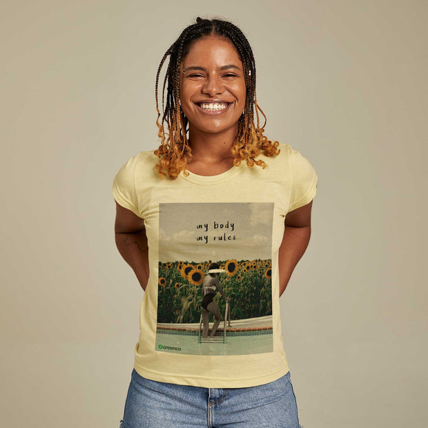 Camiseta Feminina PET + Linho - My Body My Rules