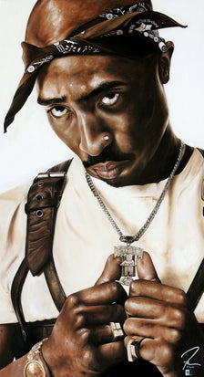 "tupac shakur, ""a soldier dies but once"" 28x50 orig"