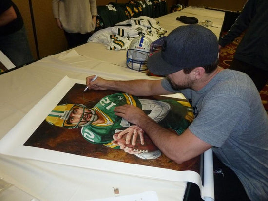 "aaron rodgers, ""in an instant"" 24x36 auto aroc, artist proof, l.e. 12"